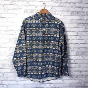 Blue & Gray Aztec Print Button Down Cabela's Shirt